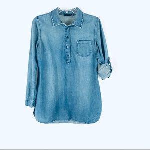 a.n.a. Denim Chambray Roll-Tab Popover Shirt M